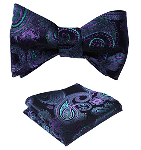 SetSense Men's Paisley Jacquard Woven Self Bow Tie Set One Size Navy Blue / Green / Purple