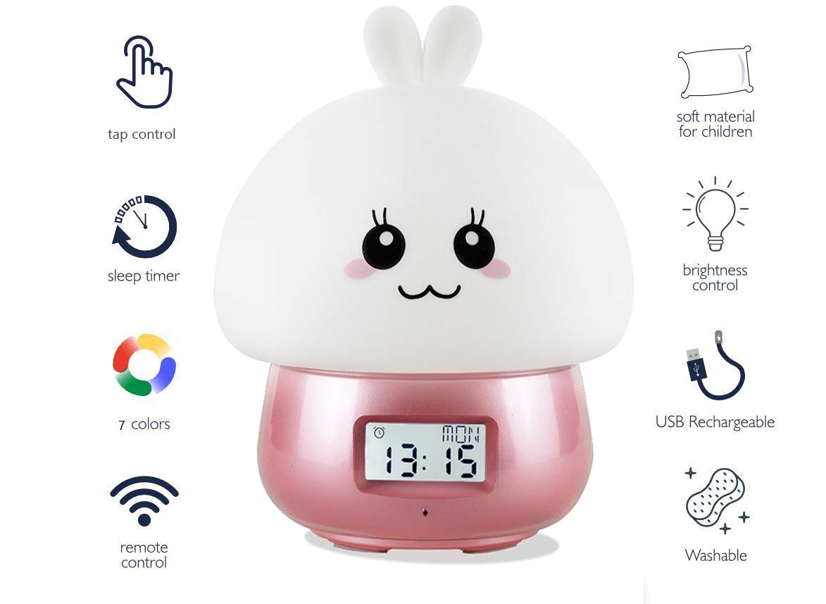 O'WODA Children Sleep Trainer&Night Light,Kids Alarm Clock with Touch Sensor and Remote,6 Colors Lights,Temperature,11 Rings&1 Recording Sound for Toddlers Girls Boys Bedroom(USB Charge) (Pink)