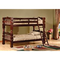 Kings Brand B127C Wood Convertible Bunk Bed, Twin, Cherry Finish