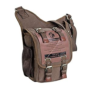 Koolertron Vintage Mens Canvas Backpack Bicycle Bag Womens Shoulder Sling Chest Military Leather Patchwork Ipad Bag Messenger Bag(Khaki) from Koolertron
