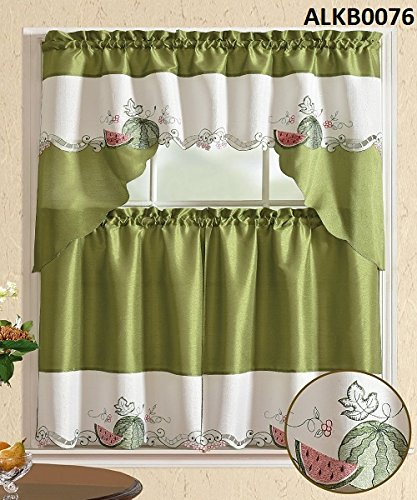 Comfy Deal 3 Pieces Embroidery Kitchen/Cafe Curtain Tier and