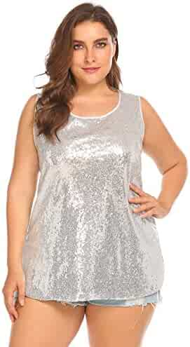 a5a6c75f9b5ae IN VOLAND Women s Plus Size Glitter Sequin Tank Top Sleeveless Sparkle  Shimmer Shirt Tops Camisole