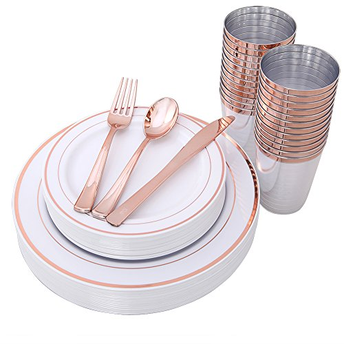 IOOOOO 150 Piece Rose Gold Plates & Plastic Silverware & Rose Gold Cups, Premium Disposable Dinnerware Set Includes: 25 Dinner Plates, 25 Dessert PLates, 25 Tumblers, 25 Forks, 25 Knives, 25 Spoons ()