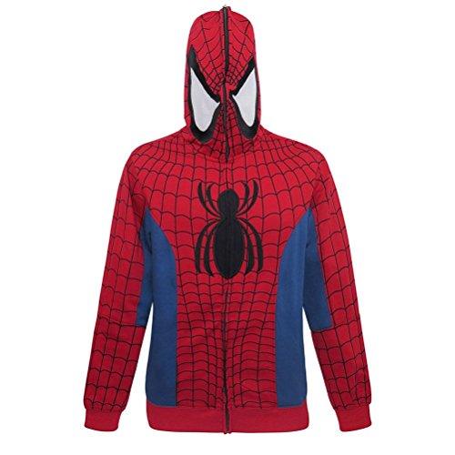Spiderman Full Zip-Up Costume Hoodie- Large ()