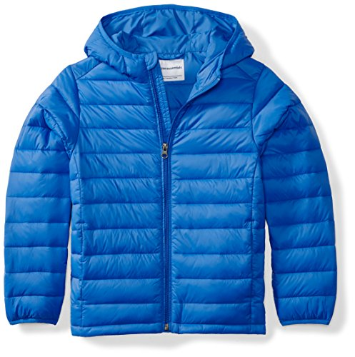 (Amazon Essentials Boys' Lightweight Water-Resistant Packable Hooded Puffer Jacket, Royal Blue,)