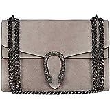RACHEL Italian cross body chain bag, designer evening purse, flap bag, suede genuine leather (grey taupe)