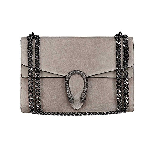 Italian Leather Clutch Wallet (RACHEL Italian Baugette clutch mini wallet cross body bag with nickel chain smooth stiff leather and suede (light taupe))