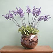 Arranjo Floral Artificial de Lavandas no Vaso de Vidro | Linha Permanente Formosinha