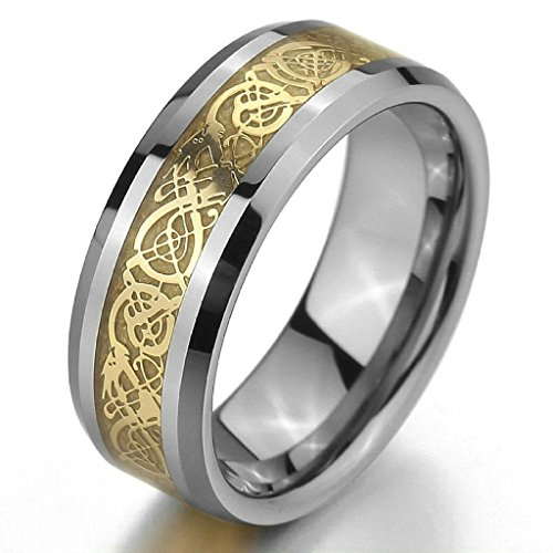 Aooaz Ring for Men Women Irish Celtic Knot Dragon Wedding Band Silver Black Vintage Size 12 ()