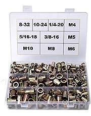 340 Pieces Rivet Nuts 8-32 10-24 1/4-20 5/16-18 3/8-16 Metric Rivet Nuts M4 M5 M6 M8 M10 Nutsert RIV Nuts Threaded Insert Nuts Kit Carbon Steel