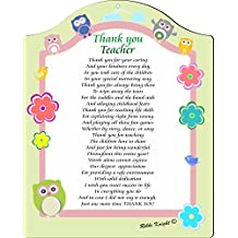Rikki Knight Thank you Teacher Touching 8x10 Poem Plaque with Arch Top