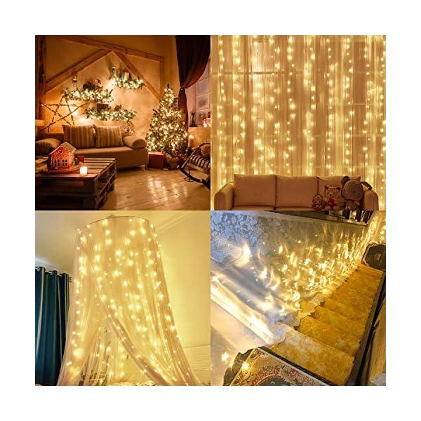 Tenda Luci LED, 300 LEDs Tenda luminosa 3x3m Natale Tenda Luci,Tenda luminosa Luci Cascata Impermeabile 8 Modalità Dimmerabile per Decorare Interni e Esterni Salotto Natale Matrimonio 4 spesavip
