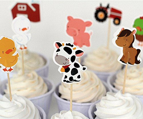 Birthday Party Cupcakes - Efivs Arts 24 Pcs Farm Animals Cake Cupcake Decorative Cupcake Topper for Kids Birthday Party Themed Party Baby Shower