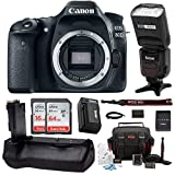 Cheap Canon EOS 80D Digital Camera Body Only with 80GB Memory + Battery Grip + TTL Camera Flash Advanced Holiday Bundle