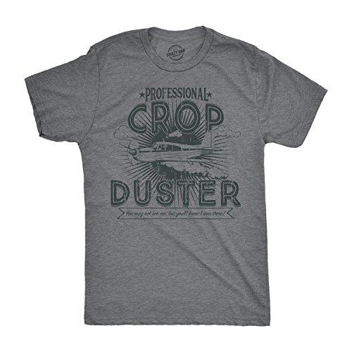 - Mens Professional Crop Duster Tshirt Funny Farting Tee for Guys (Dark Heather Grey) - XXL