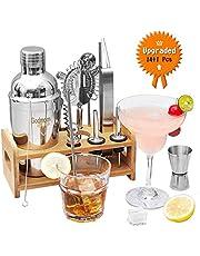 Godmorn Edelstahl Cocktailshaker Set mit 13 Pcs, Cocktail Shaker, Edelstahl Messbecher, Sieb, Eiszange, Öffner, Strohhalme, Barlöffel, Ausgießer, Weinverschlüsse, Rack aus Holz