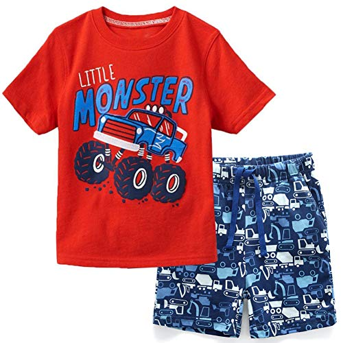 Frogwill Toddler Boys The Little Monster Truck Tee and Shorts Set 18M-7Y (7 Long, Monster Truck)