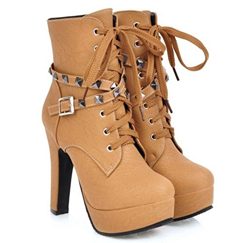 Zipper Fashion Yellow Boots Heels Women High Martin Melady 1 qU7wYOf5n