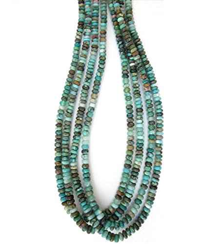 Genuine Peruvian Blue Opal with Chrysocolla 5-6mm Rondell Beads, 18 inch (Opal Rondelle Beads)