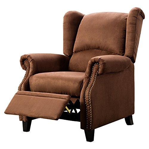 Solid Microfiber - BONZY Recliner Chair Solid Wood Legs Manual Recliners Traditional Wingback Pushback - Microfiber Brown