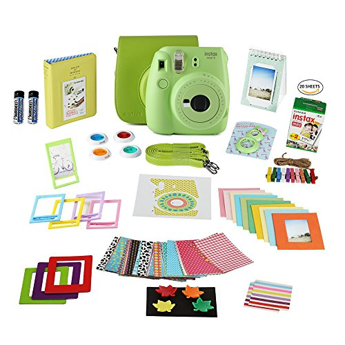 Fujifilm Instax Mini 9 Film Camera LIME Instant Camera + 20 Instant Fuji-Film Shots, Instax Case + 14 PC Instax Accessories Bundle, Fuji Mini 9 Kit Gift, 2 Albums, Lenses, Magnets Frames by Shutter