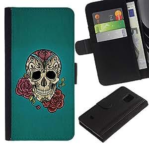 LASTONE PHONE CASE / Lujo Billetera de Cuero Caso del tirón Titular de la tarjeta Flip Carcasa Funda para Samsung Galaxy S5 Mini, SM-G800, NOT S5 REGULAR! / Rose Ink Tattoo Blue Rock Roll Metal