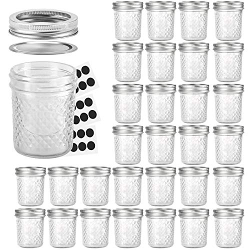 Mason Jars 6 OZ, VERONES 30 PACK 6oz Mason jars Canning Jars Jelly Jars With Lids, Ideal for Jam, Honey, Wedding Favors, Shower Favors, Baby Foods -