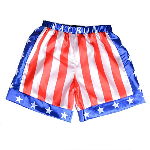 Kids Boxing Costume Rocky Balboa American Flag Shorts Italian Stallion Boys Wrestle Sports Trunks Red Apollo American, -