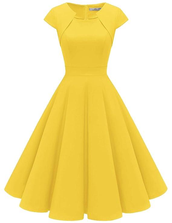 Women's 1950s Retro Vintage A-Line Cap Sleeve Cocktail Swing Party Dress