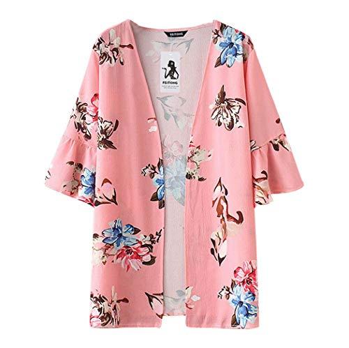 Cardigan chale Blouse Beachwear Soie imprim de Cover en Mousseline Rose Kimono Up MuSheng Top Femmes qxHf4q8