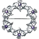 Sterling Silver Amethyst Thistle Brooch - Scottish Pin