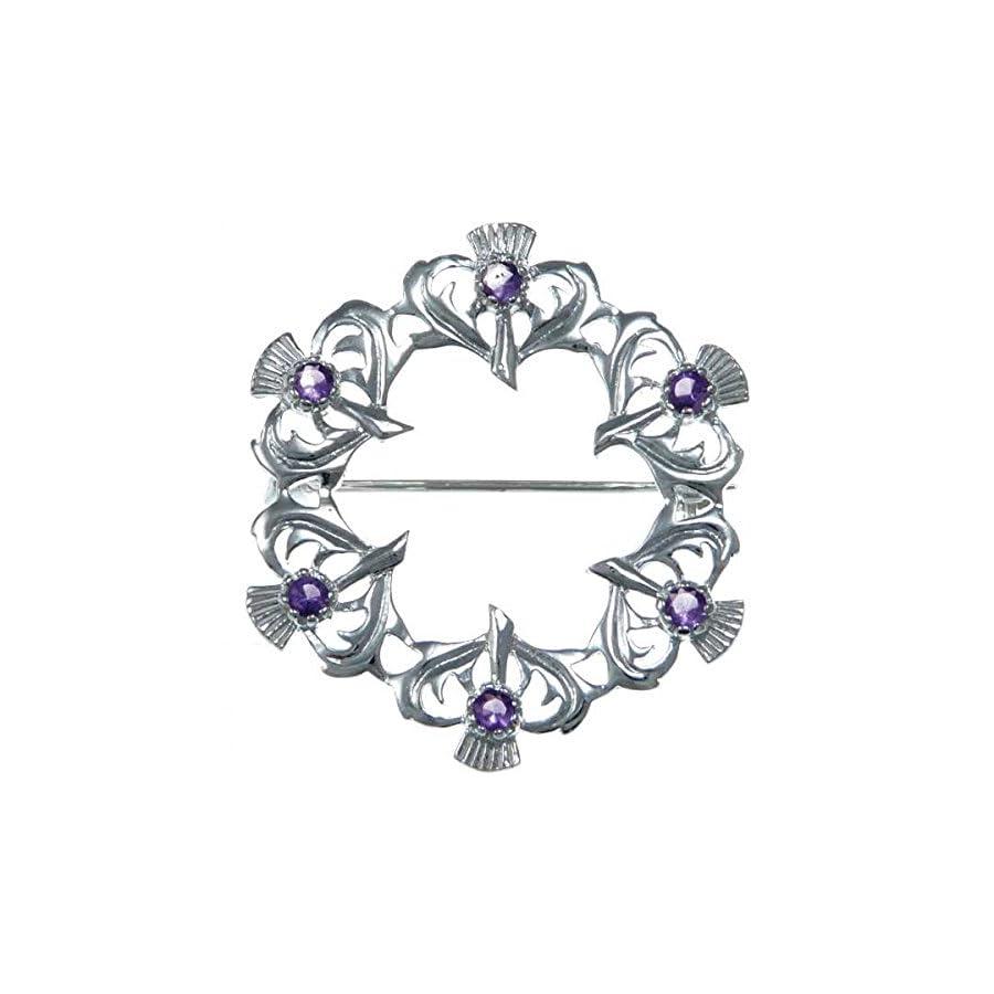 Sterling Silver Amethyst Thistle Brooch Scottish Pin