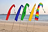 SET OF 5 Festival Flags for Festivals, Advertising, Garden's, Market's, Park's, School's & Wedding's ~ 4 Feet / 1.3m Tall! Parachute Silk! Multiple Colors! POLES INCLUDED! (Green / Rainbow / Red / Royal Blue / Yellow)