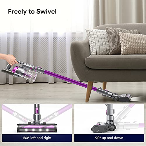 YTE Cordless Vacuum Cleaner, 300W Brushless Motor, 26KPa Powerful Suction Stick Vacuum 8 in 1 with LED Headlight, Up to 40 Mins Runtime, Handheld Lightweight Vac for Carpet Hard Floor Car Pet Hair