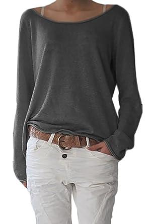 Damen Sexy Rundhalsausschnitt Langarm Lose Bluse Strickpulli Hemd Shirt  Oversize Sweatshirt in vielen Trend Farben Tops 13c140aa9a