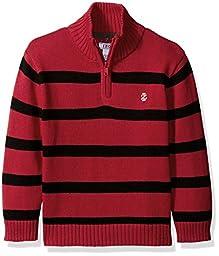 Izod Kids Little Boys Engineered Stripe 1/4 Zip Sweater, Red, 5