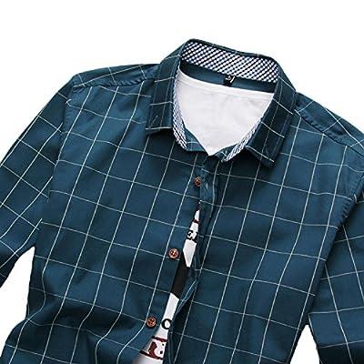 PenGreat Men's 100% Cotton Long Sleeve Plaid Slim Fit Button Down Dress Shirt
