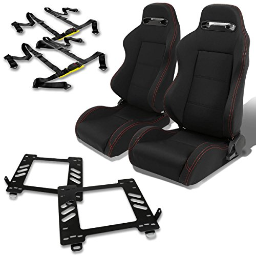 Miata Racing Seat - Mazda Miata MX5 NA Pair of Type-R Racing Seats (Black)+Seat Bracket+4-Point Black Belt