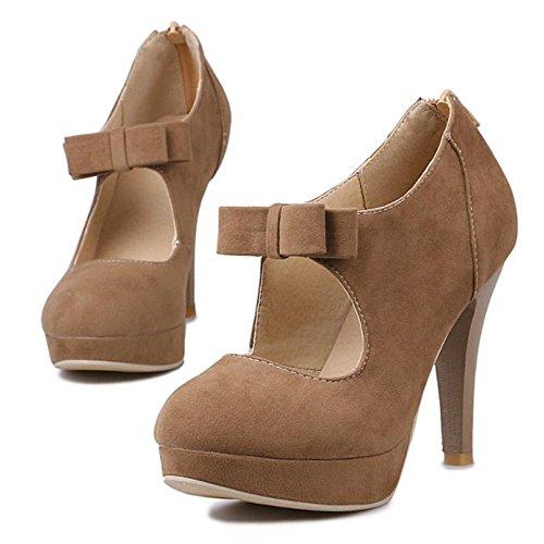 Coolcept Mujer Moda Fiesta Court Shoes Tacon de Aguja Plataforma Bootie Bombas Zapatos With Corbata de Mono (38 EU, Black)
