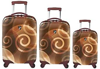 Heys USA Luggage Retro Print 3 Piece Hardside Spinner Set, Brown, One Size