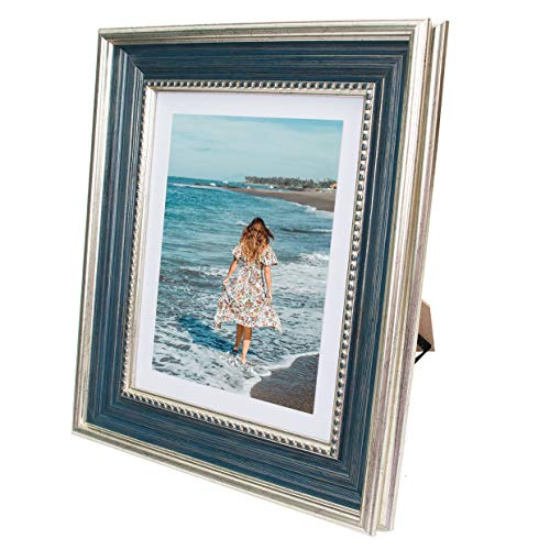 Beyond Your Thoughts 8x10 Picture Photo Frame Antique with Matted for 5X7 Blue Color, Vertical or Horizontal, Table Top and Wall Mounting Display