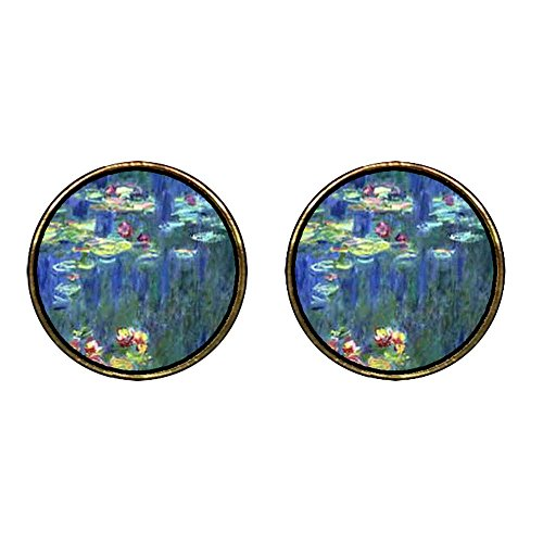 GiftJewelryShop Gold Plated Monet Water Lilies Photo Stud Earrings 12mm Diameter ()