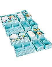 mDesignorganizadores para armarios de Tela – Separadores de cajones con 13 Compartimentos – Organizadores de cajones para Ropa, cosméticos, pañales, pañuelos o lociones