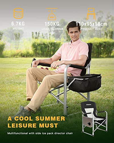 KingCamp Heavy Duty Camping Folding Director Chair Oversize Padded Seat with Side Table and Side Pockets, Supports to…