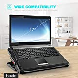 havit Laptop Cooling Pad Computer Quiet Cooler with 5 Quiet Fans and 2 USB Ports, Portable Cooling Stand with LED Light for 14-17 Inch Laptop