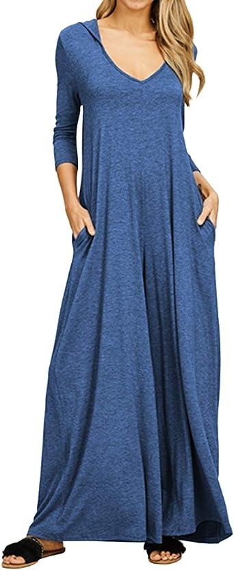 Jacansi - Vestido largo para mujer, manga larga, informal, algodón, con capucha, con bolsillos: Amazon.es: Ropa y accesorios