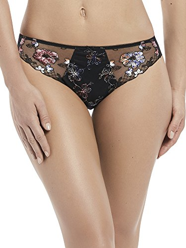 Fantasie Women's Nadine Floral Embroidered Brief, Black, (Embroidered Nylon Briefs)