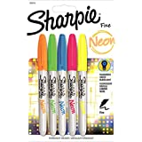 Sharpie Permanent Markers, Fine Point, Assorted Neon Colors, 5-Count