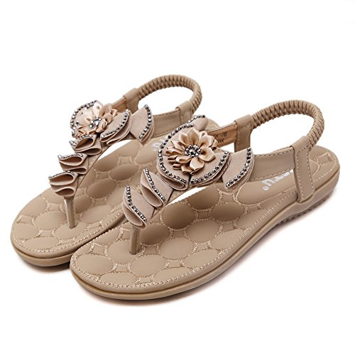 Flops Summer Beaded Sandals Elastic T Slip Flower 02 Apricot Flip Strap On Flat Meeshine q4BnTwI66