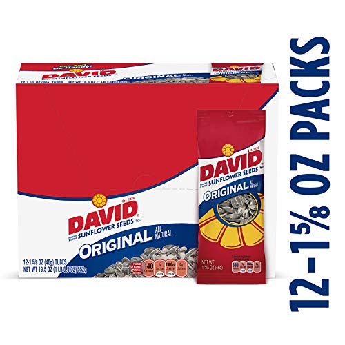 (DAVID Roasted and Salted Original Sunflower Seeds, 1.625 Ounce, Pack of 12)
